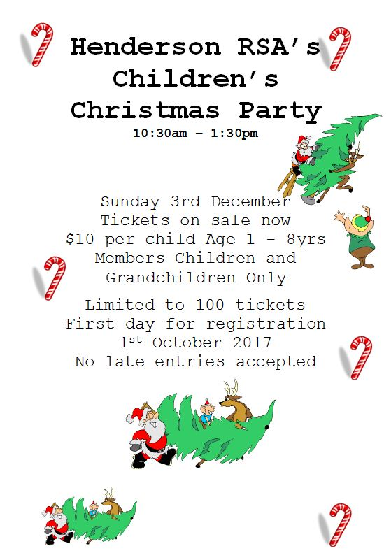 Kids Xmas Party - Sunday  3rd December 10:30am - 1:30pm